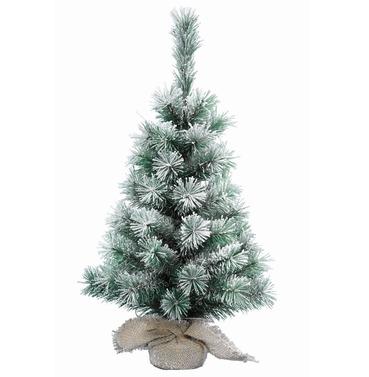 Mini Christmas Tree Snowy Vancouver 45cm Jute Bag Base