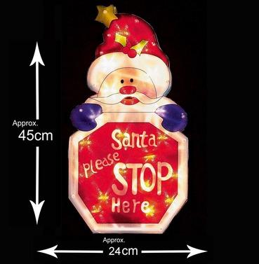 Santa Please Stop Here Christmas Window Silhouette Sign - Indoor - Premier