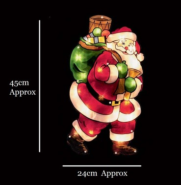 Santa With Sack Christmas Window Silhouette Sign - Indoor - Premier