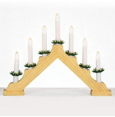 V Shaped Christmas Candlebridge - 7 Bulbs - Pine Effect