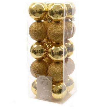 Christmas Bauble Gold Set 60mm x 20 - 10 Shiny & 10 Glittery