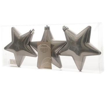 Star Tree Decoration 12cm Shiney Grey 3 Pack
