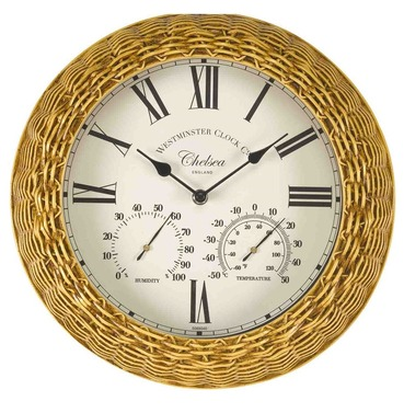 """Chelsea Wicker / Rattan Effect Garden Wall Clock and Thermometer 13"""""""