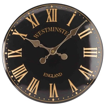 "Westminster Tower Garden Wall Clock - 12"" Black"