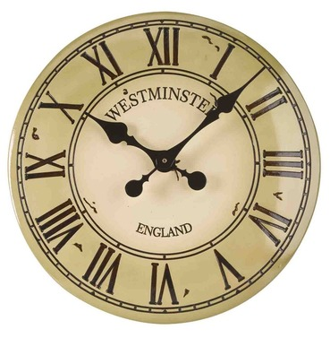 "Westminster Tower Garden Wall Clock - 12"" Cream"