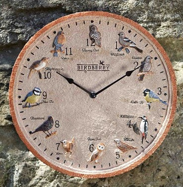 Twelve favourite British Birds Birdberry Wall Garden Clock 30cm