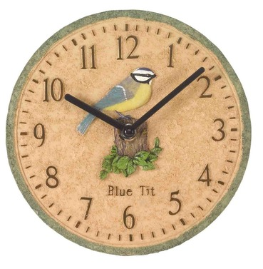 Blue Tit Garden Outdoor Clock 8""
