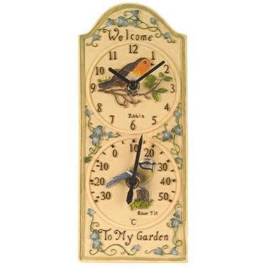 Birdberry Robin & Blue Tit Dual Wall Clock and Thermomter