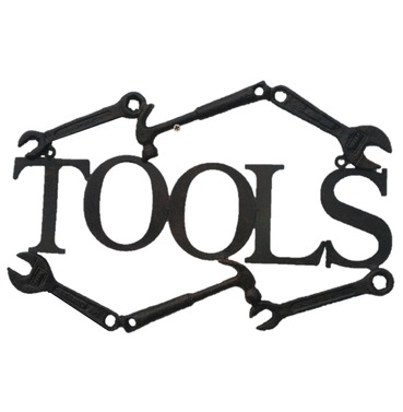 Tools Wall Decoration Sign / Plaque - Cast Metal - Fine Detail - Garden Art