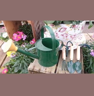 Small Metal Watering Can & Tool Set - Children Kids Gardeing Set