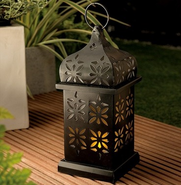 Eastern Solar Garden Candle Lantern - Flickering Amber LED