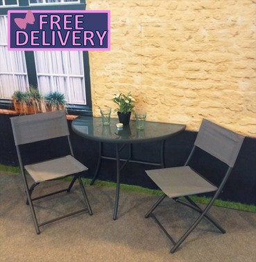 Foldable Half Table & Chairs - Balcony Furniture - Brundle Gardener