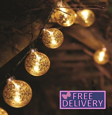 String Lights Christmas Tree Decorations Gold Stellar Glass Bauble Light - Battery