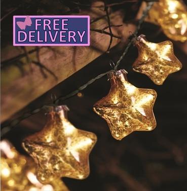 String Lights Christmas Tree Decorations Gold Stellar Glass Star Light - Battery
