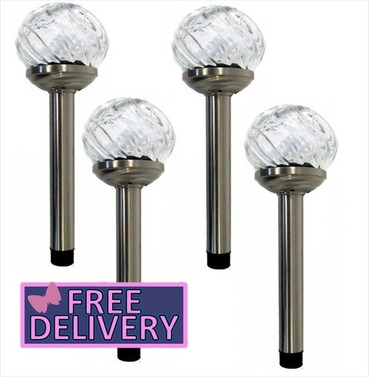Solar Powered Orion Glass Stake Lights - Set of 4 Colour Changing and White