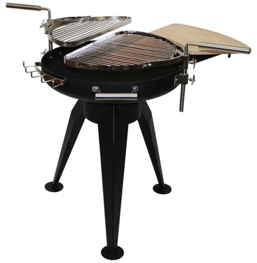 Cordoba Large Black Steel Firepit with Double Grill - FREE Cover