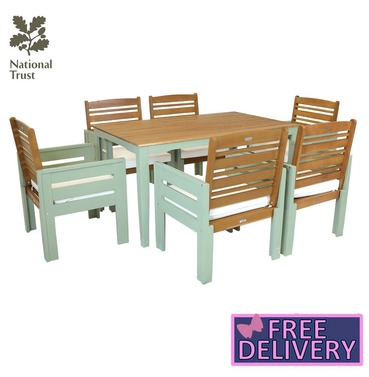 Charles Bentley Kingston Wooden 6 Seater - 7 Piece Dining Set - with Cushions - FSC Hardwood  - Green
