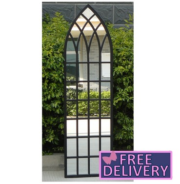 Gothic Style Arch Decor Garden Mirror - Black - Charles Bentley
