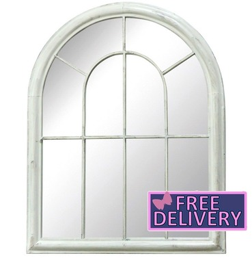 Arched Antique White Outdoor Garden Mirror - Charles Bentley