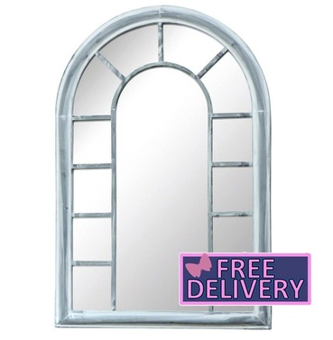 Arched Antique Grey Outdoor Garden Mirror - Charles Bentley