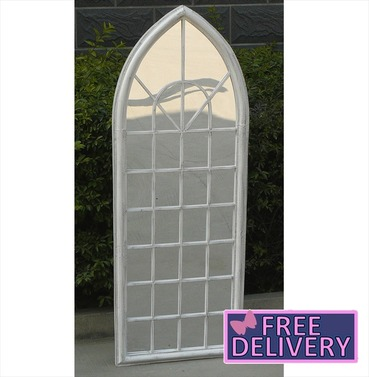 Trellis Arch Mirror Outdoor Garden Mirror - White - Charles Bentley