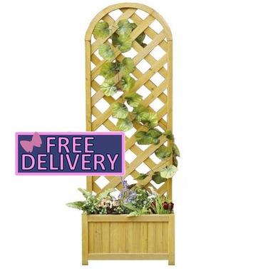 Garden Straight Lattice Wooden Planter & Trellis - Charles Bentley