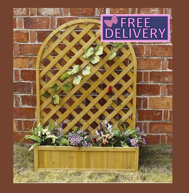 Garden Large Lattice Wooden Planter & Trellis - Charles Bentley