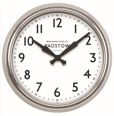 "Padstow Garden Outside Clock - 15"" Diameter  - Galvanised Metal Frame - Indoor or Outdoor Clock"