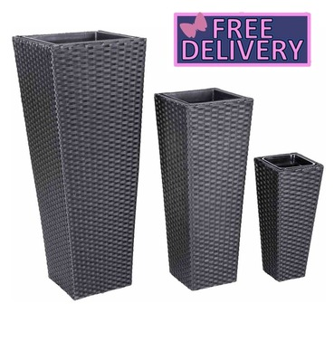 Tall Black Rattan Garden Planters - Set of 3 - FREE Inner Pots Included - Charles Bentley