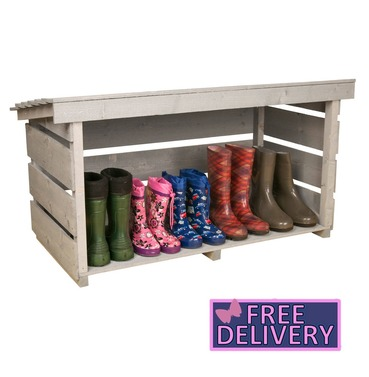Garden Wellington Boot or Shoe Rack - Grey - Charles Bentley