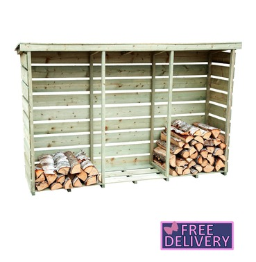 Garden Wooden Triple Log Store Shed - Extra Large - Charles Bentley