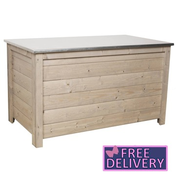 Storage Chest With Galvanised Metal Roof - Nordic Spruce - Charles Bentley