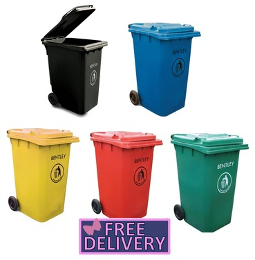 Garden Wheelis Bin - 240 Litre Rubbish Bin - Charles Bentley - Various Colours Available