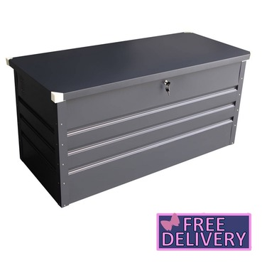 Metal Garden Storage Chest With Lock Water Proof Seal Hydraulic Lid - Charles Bentley