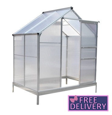 Garden 6ft x 4ft Polycarbonate Greenhouse - Aluminium Frame - Charles Bentley