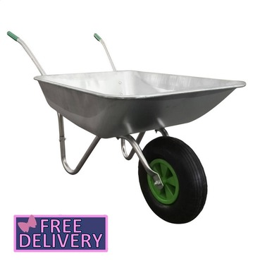 Garden Galvanised Steel Metal Wheelbarrow - 65L / 100kg - Charles Bentley