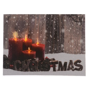 LED Christmas Xmas Canvas Red Candle Scene - 30 x 40cm