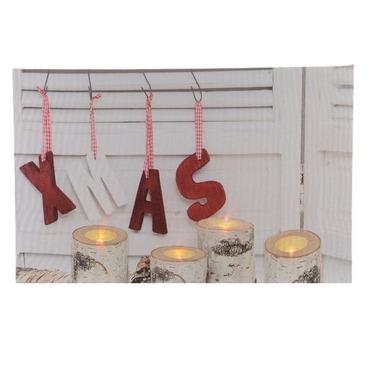 LED Christmas Xmas Canvas Decorative Candle Scene - 30 x 40cm