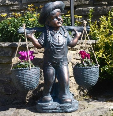 Basket Girl Statue Planter Ornament - Polystone - Europa Leisure