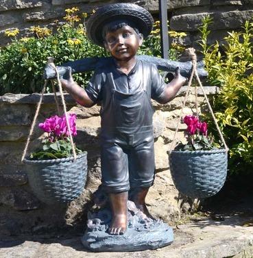 Basket Boy Statue Planter Ornament - Polystone - Bronze Effect - Europa Leisure