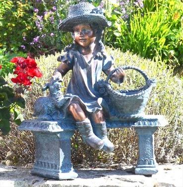 Girl on Bench Statue Planter Ornament - Polystone - Bronze Effect - Europa Leisure