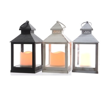 Lumineo Lantern Indoor Battery Powered Candle Lantern - Colour Choice  Black, White, Grey