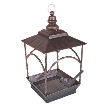 Decorative Pavillion Seed Bird Feeder - Brushed Bronze Metal Latern Effect