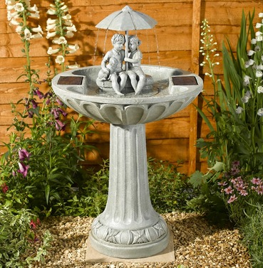 Umbrella Birdbath Water Feature - Solar Powered