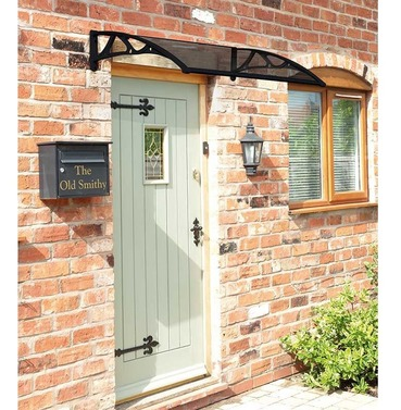 Easy Fit Door Canopy in Black - 1m or 1.2m Wide - Grey Cover