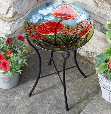 Poppy Bird Bath - Hand Painted Glass Birdbath