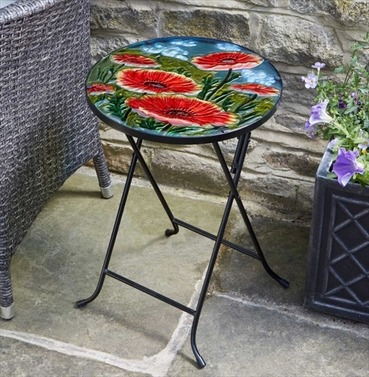 Poppy Table - Hand Painted Glass Side Table