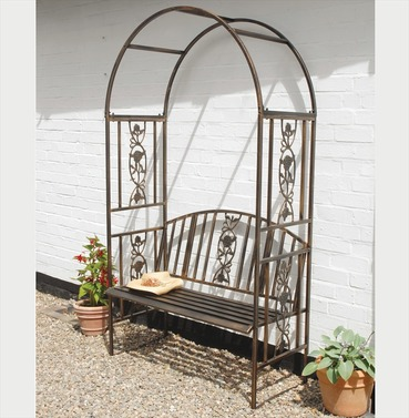 Coalbrookdale Ornamental Garden Arch Arbour with Bench