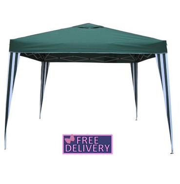 Pop up Gazebo 3m x 3m - Stripe Green- Charles Bentley