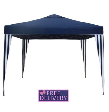 Pop up Gazebo 3m x 3m - Blue Stipe - Charles Bentley